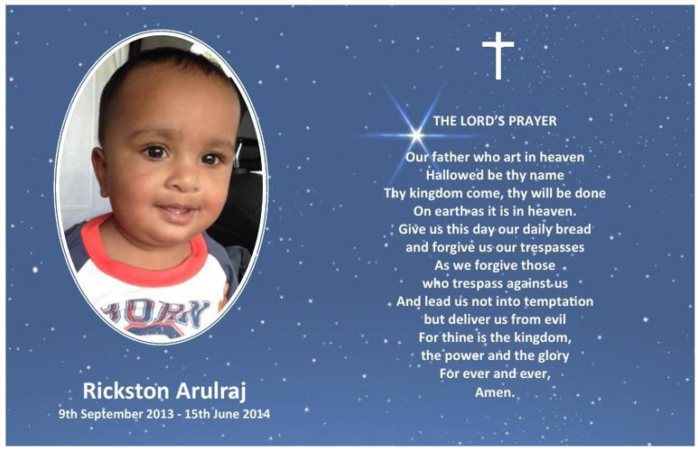 Memorial Card  for Rickston Arulraj