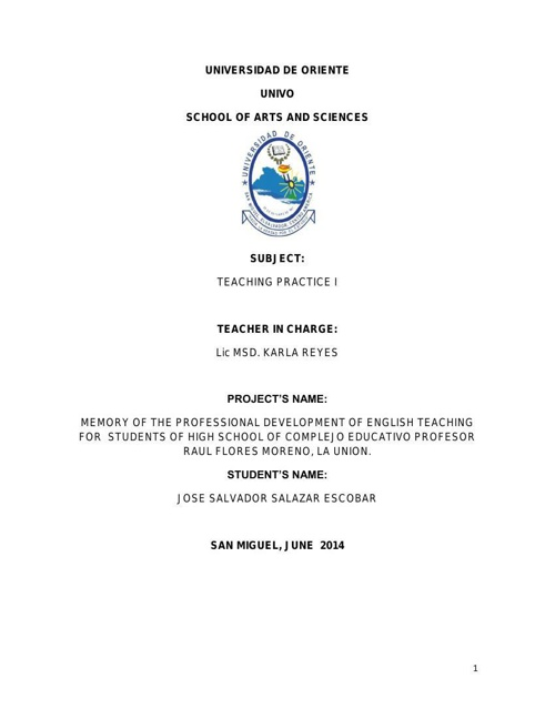 memory report high school huiskil Salvador