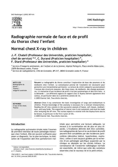 Radiographie normale de face et de profil du thorax