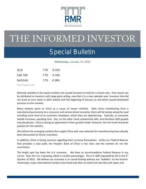 special bulletin January 2016
