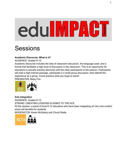 eduIMPACT Session Descriptions