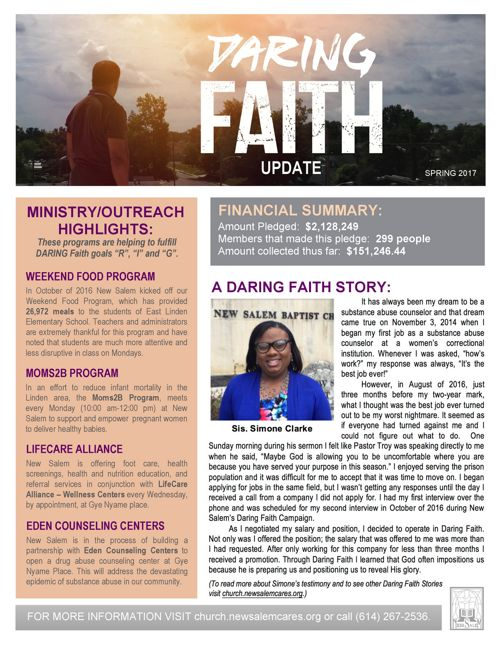 New Salem's Daring Faith Quarterly Updated (Spring 2017)