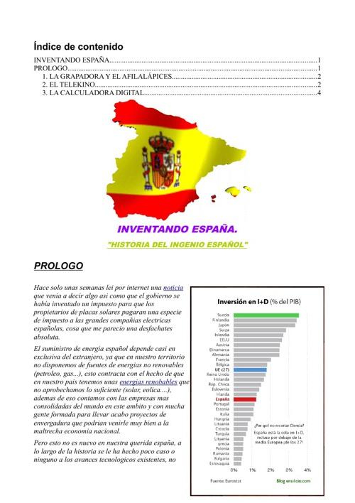 """INVENTANDO ESPAÑA. """"Historia del ingenio español"""""""