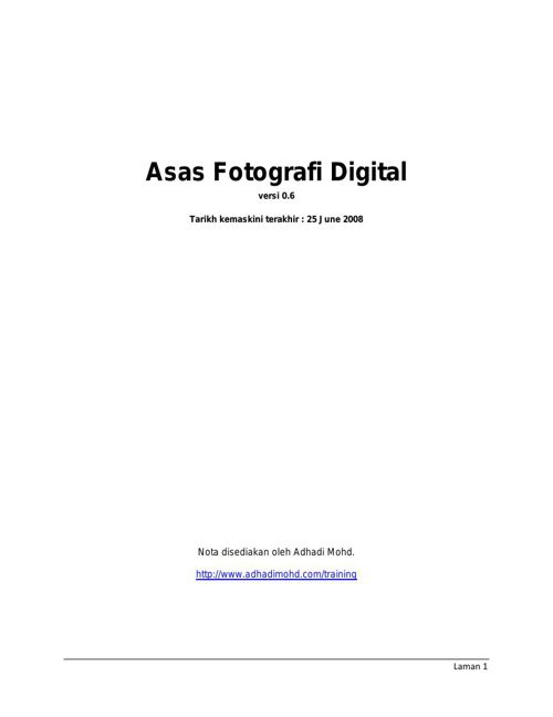 ASAS FOTOGRAFI DIGITAL