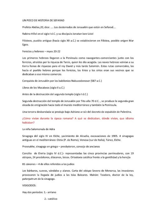 UN RESUMEN DE LA PRESENCIA DE LOS JUDÍOS EN SEFARAD.