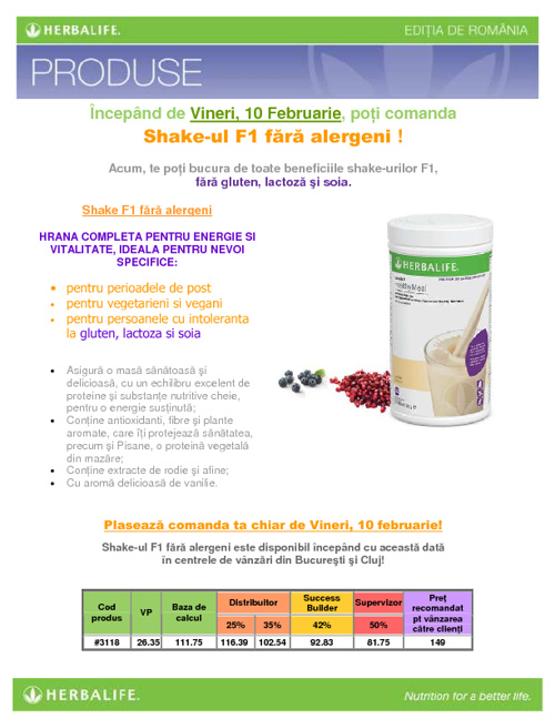F1 aroma de vanilie fara alergeni: fara gluten, lactoza si soia