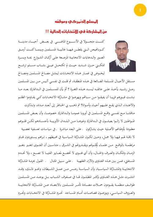 المسلم الدنمركي وموقفه من مشاركة الانتخابات الحالية