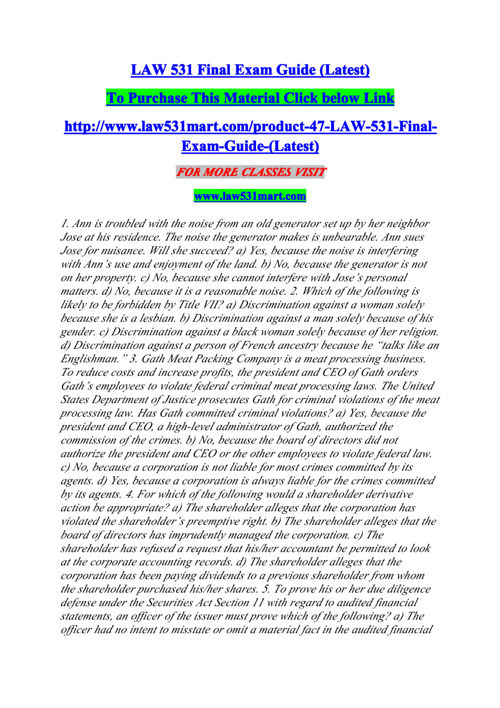 LAW 531 Final Exam Guide (Latest)