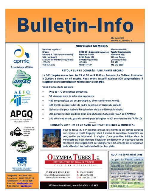 Bulletin mai-juin 2016