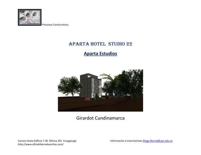 Aparta Hotel Studio 22 Girardot Memoria+descriptiva