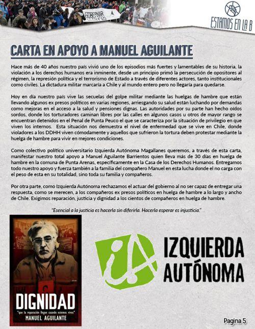 Carta apoyo huelga de hambre Manuel Aguilante. Estamos en la B,