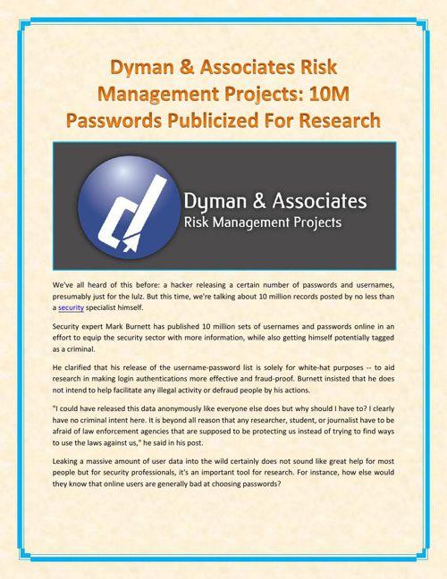 Dyman & Associates Risk Management Projects - 10M Passwords Publ