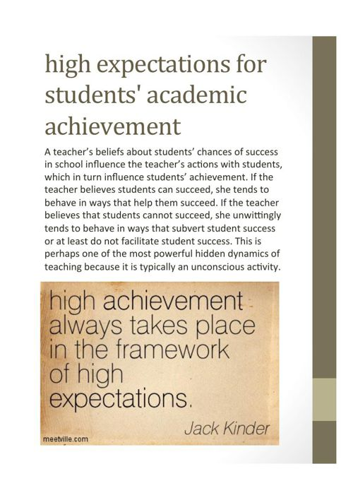 High Expectation Importance and  Strategies