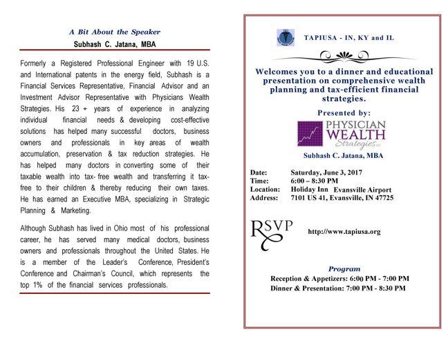 TAPI Financial Dinner InvitationPA1