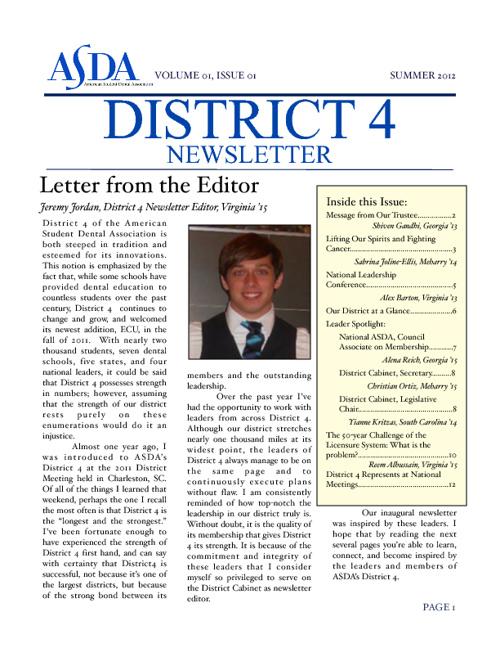 District 4 Newsletter, Summer 2012