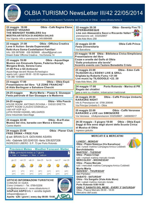 Newsletter OlbiaTurismo III/42 del 22/05/2014