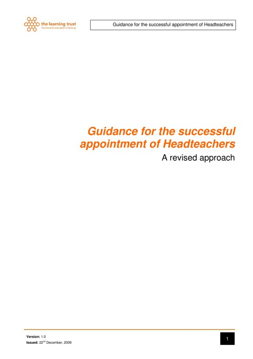 Guidance for the successful appointment of Headteachers