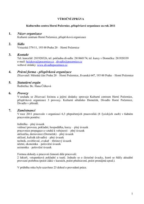 Divadlo Horní Počernice - výroční zpráva 2011