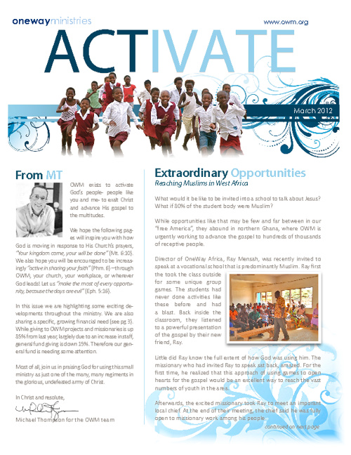 Activate - March 2012 - OneWay Ministries