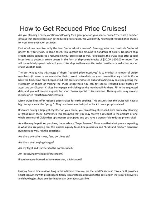 How to Get Reduced Price Cruises!