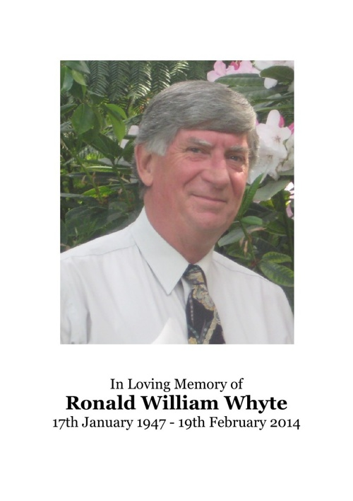 4 Order of Service for Ronald William Whyte