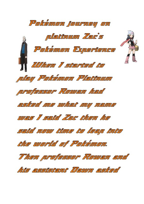 Pokemon platnum Zac's pokemon experience