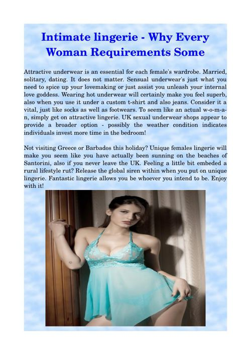 Intimate lingerie - Why Every Woman Requirements Some