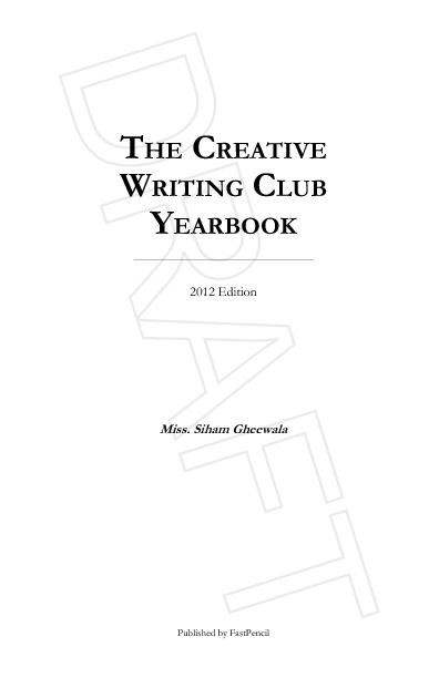 The Creative Writing Club Yearbook 2012