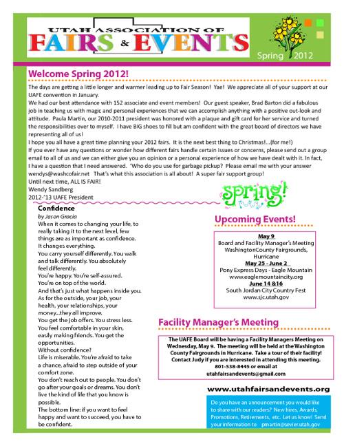 Spring 2012 UAFE Newsletter