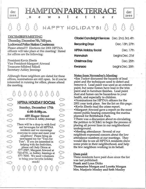 HPT Neighborhood December 2000