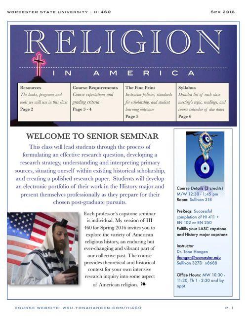 Senior Seminar Religion in America (HI 460) Spring 2016