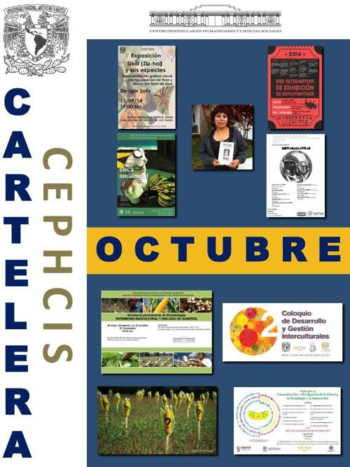 Cartelera CEPHCIS-UNAM, octubre (1ª quincena).