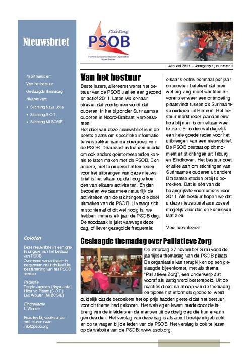 PSOB Nieuwsbrief jaargang 1 nummer 1 - januari 2011