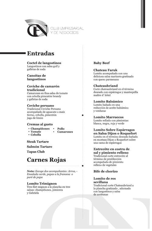 Menú Restaurante Club Empresarial y de Negocios