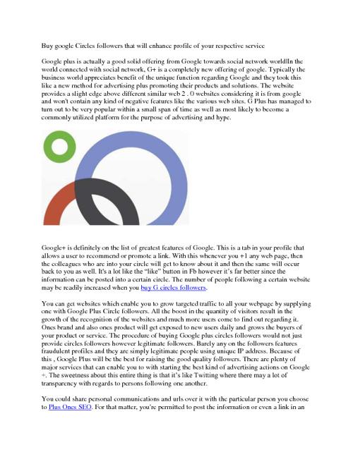 Buy Google Circles Followers
