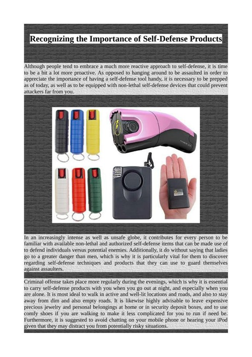 Recognizing the Importance of Self-Defense Products