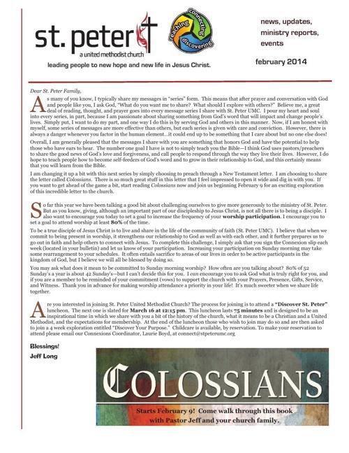 February 2014 St. Peter UMC Newsletter