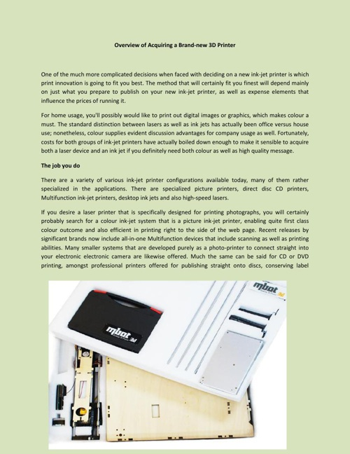 Overview of Acquiring a Desktop 3d printer