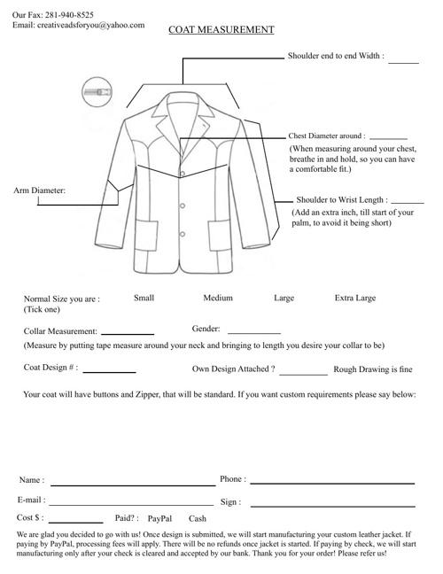 Coat Measurement!
