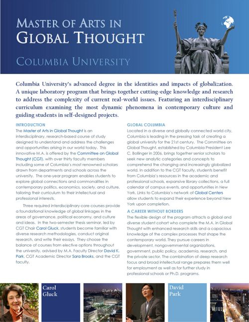 Columbia University Master of Arts in Global Thought Prospectus