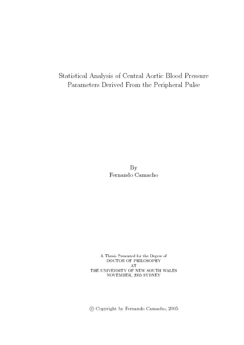 Statistical Analysis of Centra Aortic Blood Pressure