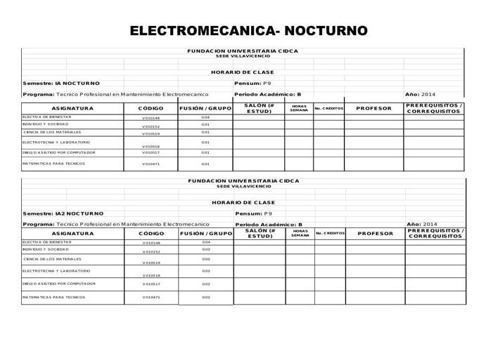 HORARIOS PARA PREMATRICULA ELECTROMECANICA 2015-1