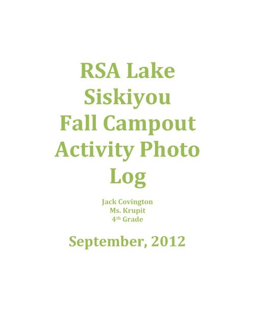 RSA Lake Siskiyou Campout Photo Journal for Jack Covington