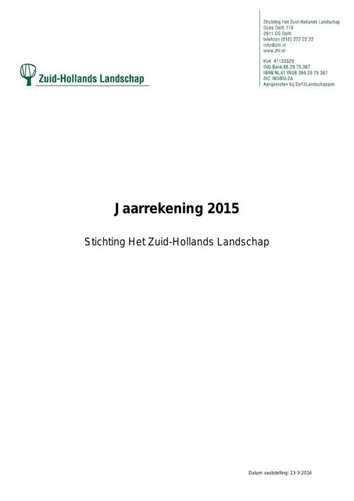 Jaarrekening 2015 | Zuid-Hollands Landschap