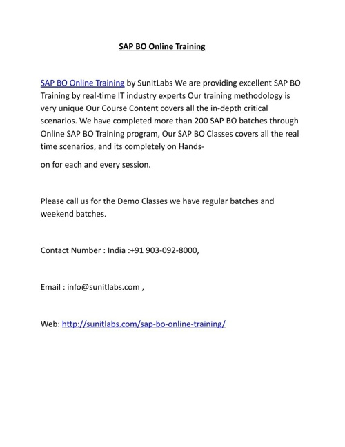 SAP BO Online Training in Hyderabad