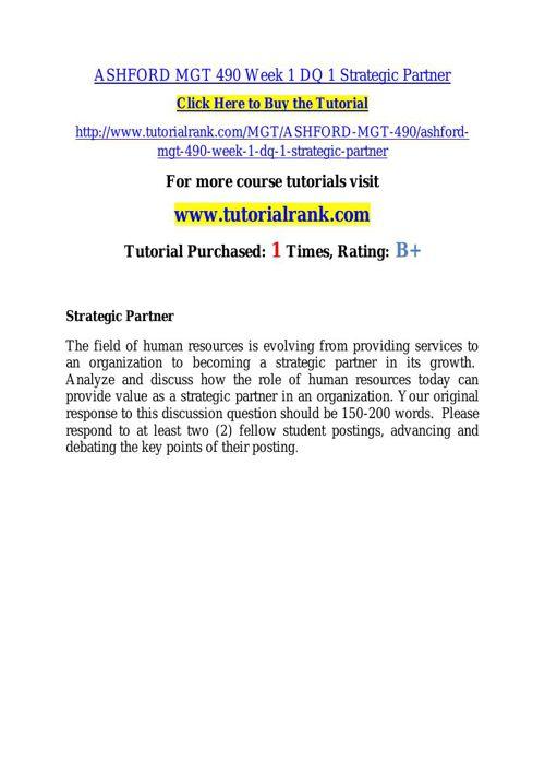 ASHFORD MGT 490 learning consultant - tutorialrank.com