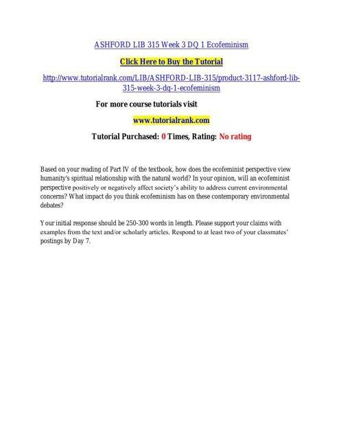 ASHFORD LIB 315 Week 3 DQ 1 Ecofeminism