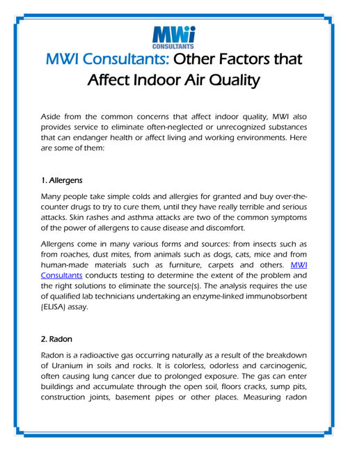 MWI Consultants Other Factors that Affect Indoor Air Quality
