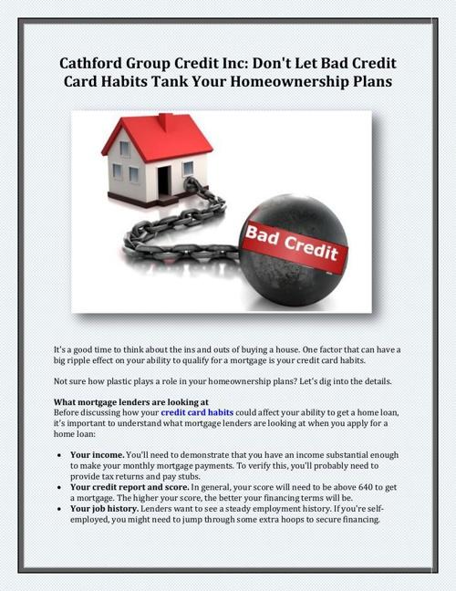 Cathford Group Credit Inc - Don't Let Bad Credit Card Habits Tan
