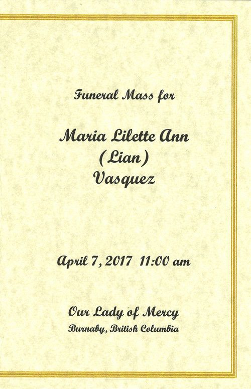 Funeral Service Program for Maria Lilette Ann Vasquez